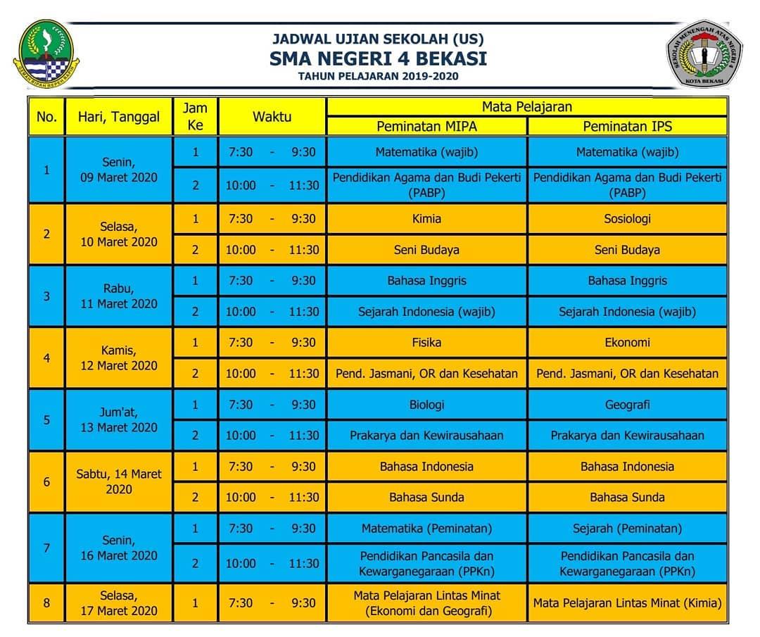 Jadwal dan Tata Tertib Peserta Ujian Sekolah Kelas XII MIPA dan IPS Tahun Pelajaran 2019-2020.