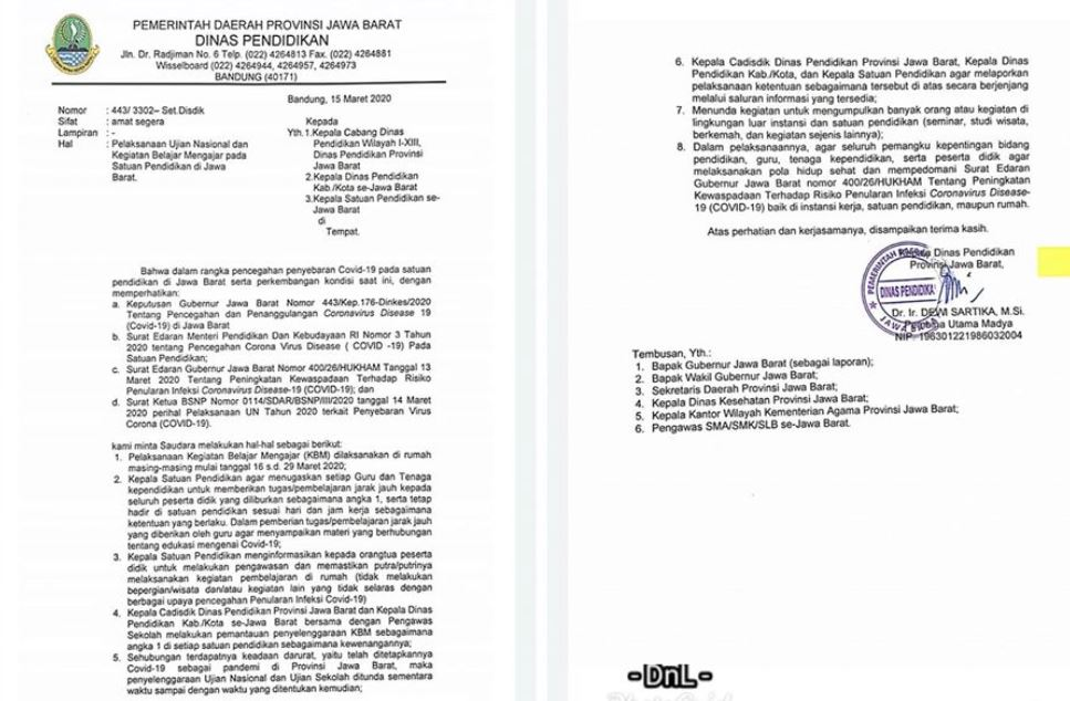 Pelaksanaan Ujian Nasional dan Kegiatan Belajar Mengajar pada Satuan Pendidikan di Jawa Barat