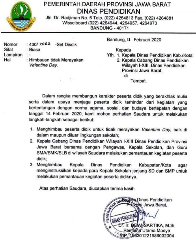Surat Edaran dari Ibu Dewi Sartika Kepala Dinas Pendidikan Pemerintah Provinsi Jawa Barat