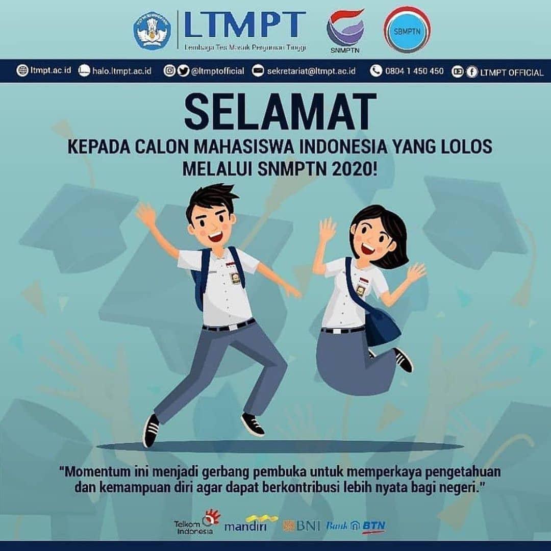Selamat kepada calon mahasiswa Indonesia ???????? yang lulus jalur #SNMPTN 2020