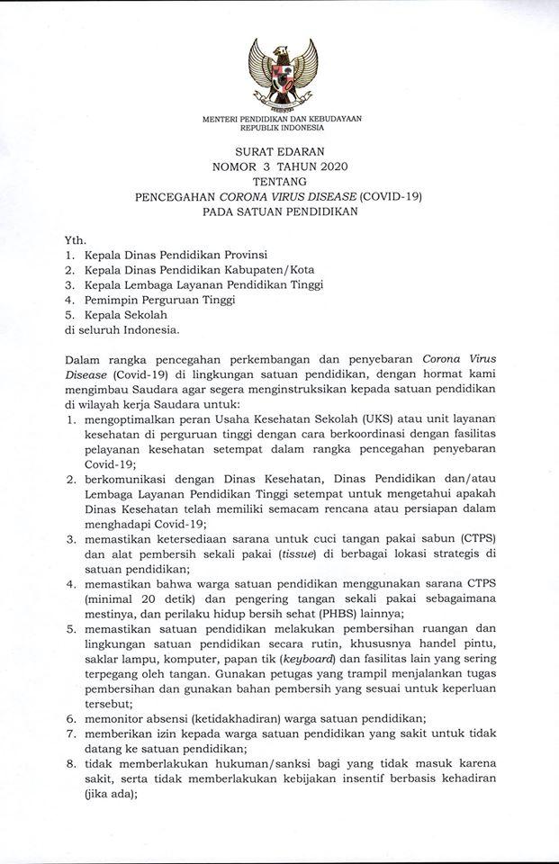 Surat Edaran Pencegahan COVID-19 KEMENDIKBUD RI