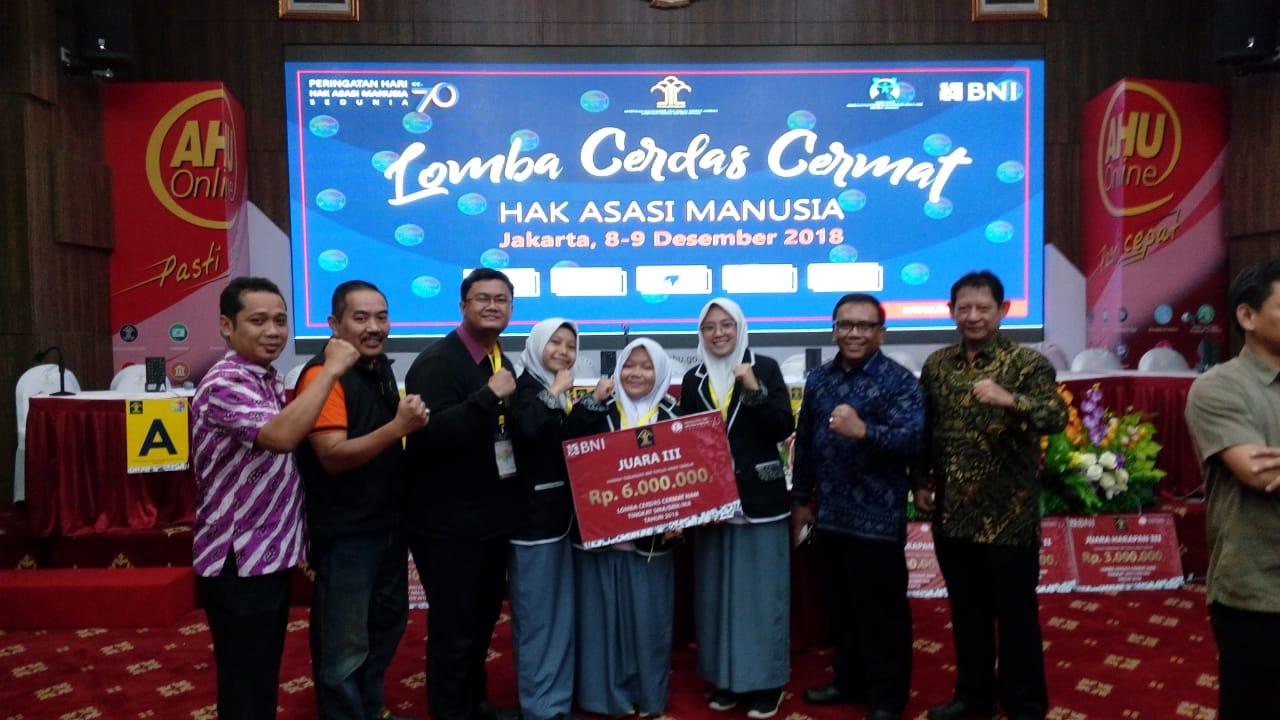 Alhamdulillah SMAN 4 Kota Bekasi Juara 3 Lomba Cerdas Cermat HAM 2018 Se-Pulau Jawa