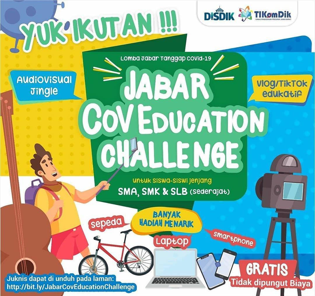 "Dinas Pendidikan Jawa Barat dan UPTD Tikomdik Jabar mempersembahkan ""Jabar Coveducation Challenge"" buat kalian siswa SMA, SMK, dan SLB"